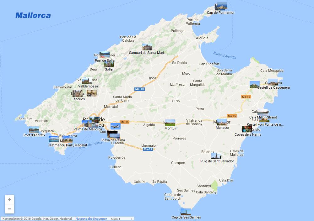 Mallorca Karte Sehenswurdigkeiten Auf Der Karte Von Mallorca